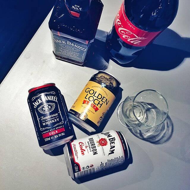 Golden Loch z colą, Jack Daniels z colą, Jim Beam z colą