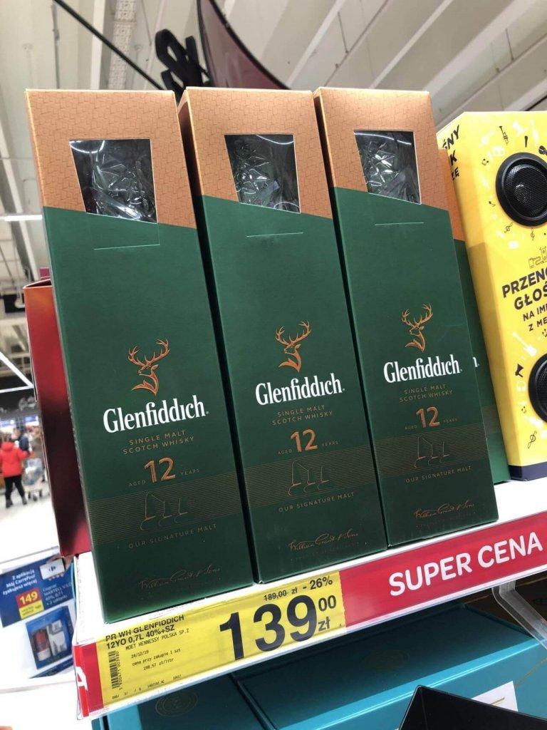 Zestaw Glenffidich 12 ze szklankami Carrefour